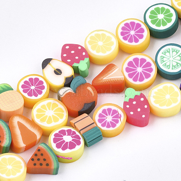 Handmade Polymer Clay Beads Strands, Fruit Theme, Mixed Shapes, Mixed Color, 7~11x8~12x3~7mm, Hole: 1~1.2mm, about 40pcs/strand, 14.5 inches(X-CLAY-S092-24)