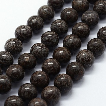 Natural Snowflake Obsidian Beads Strands, Round, 8mm, Hole: 1mm, about 46pcs/strand, 14.76 inches(37.5cm)(X-G-I199-01-8mm)