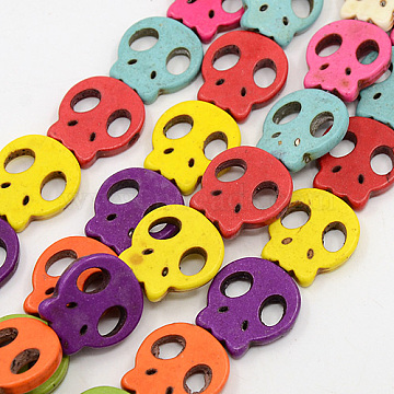 15mm Mixed Color Skull Howlite Beads