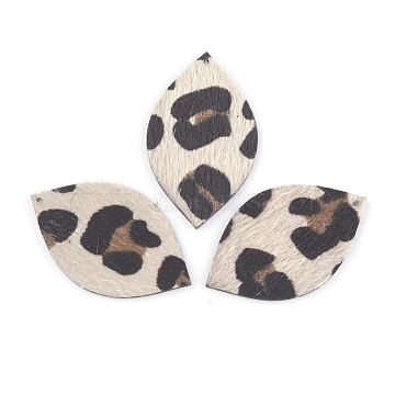 PU Leather Pendants, with Faux Horsehair Fabric, Horse Eye, AntiqueWhite, 43x26x3mm, Hole: 1.5mm(X-FIND-T020-050)