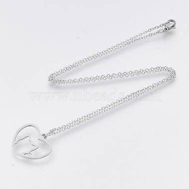 201 Stainless Steel Kitten Pendant Necklaces(NJEW-T009-JN132-40-1)-2