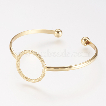 Brass Cuff Bangle, Real 18K Gold Plated, 2 inchesx2-1/8 inches(50x53mm)(X-BJEW-P168-F09)
