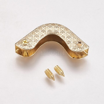 Zinc Alloy Bag Corner Protectors, with Screw, Light Gold, 24x24x7mm, Hole: 2.4mm(PALLOY-WH0008-02LG)
