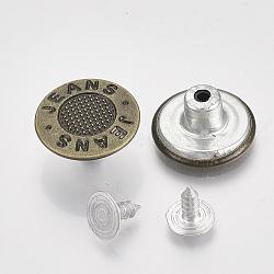 Fer boutons de jeans, Accessoires de vêtement, rond et plat avec un jean de mots, bronze antique, 17x7.5mm, trou: 1.8 mm; broche: 7.5x8 mm; bouton: 2.5 mm; 2 pièces / ensemble(BUTT-Q044-09AB)