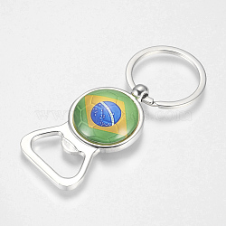 Alloy Keychain, Bottle Opener/Can Opener with Flag Pattern, Colorful, 81~82mm(KEYC-TA0002-06)