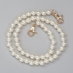 ABS Plastic Imitation Pearl Bag Strap Chains, with Alloy Clasps, for Bag Straps Replacement Accessories, AntiqueWhite, 61cm; Beads: 10mm(X-FIND-WH0052-67A)