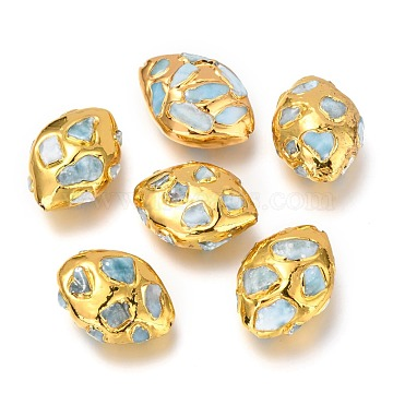 Natural Larimar Beads Beads, Brass Edge Golden Plated, Oval, 28.5~32x22~24x12.5~15mm, Hole: 1.2mm(G-Z018-04G)