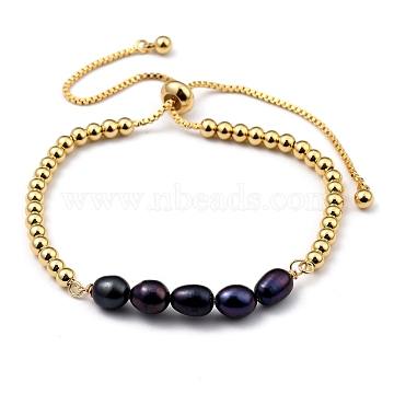 Adjustable Brass Slider Bracelets, Bolo Bracelets, with Natural Cultured Freshwater Pearl Beads, Real 18K Gold Plated, Prussian Blue, Inner Diameter: 2~4-1/8 inches(5~10.5cm)(BJEW-JB05456-03)