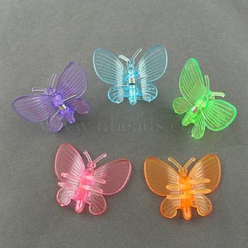 Acrylic Claw Hair Clips, Butterfly, Mixed Color, 33x39mm(X-PHAR-R020-M)