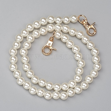 ABS Plastic Imitation Pearl Bag Strap Chains, with Alloy Clasps, for Bag Straps Replacement Accessories, Antique White, 61cm, Beads: 10mm(X-FIND-WH0052-67A)