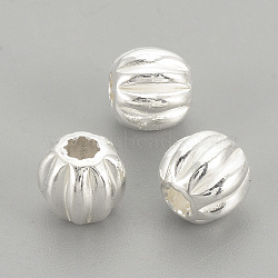 925 perles ondulées en argent sterling, rond, argenterie, 3x2.5mm, Trou: 1mm(STER-S002-14-3mm)