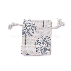 sachets d'emballage de jute, sacs à cordonnet, rectangle avec motif arbre de vie, coloré, 8.7~9x7~7.2 cm(ABAG-I001-7x9-16)