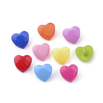 Acrylic Shank Buttons, Heart, Mixed Color, 13.5x14x7.5mm, Hole: 3mm(X-BUTT-S020-52)