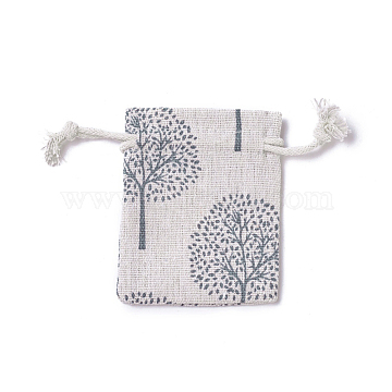 Burlap Packing Pouches, Drawstring Bags, Rectangle with Tree of Life Pattern, Colorful, 8.7~9x7~7.2cm(ABAG-I001-7x9-16)