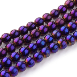 Round Glass Strands, Electroplate, Purple Plated, bead: 4mm in diameter, hole: 0.5mm, about 80pcs/strand, about 13 inches/strand.(X-GR4mmY-P)