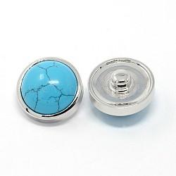 Accessoires de vêtement en alliage pierres précieuses boutons bijoux snap, dôme, Sans cadmium & sans nickel & sans plomb, de couleur métal platine , turquoise synthétique, 19x12 mm; bouton: 6 mm(SNAP-O015-06)