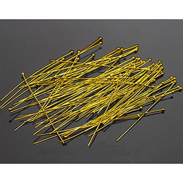 Brass Ball Head Pins, Golden, Size: about 0.7mm thick, 70mm long; about 75pcs/20g(X-RP0.7x70mm-G)