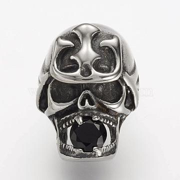 304 Stainless Steel Leather Cord Clasp Rhinestone Settings, with Rhinestone, Skull, Antique Silver, 26x18x24mm, Hole: 6x11mm; Fit for 6x4mm rhinestone(STAS-P169-65AS)