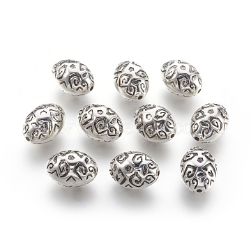 CCB Plastic Beads, Oval, Antique Silver, 19.5x14x13mm, Hole: 2mm(CCB-F009-02AS)