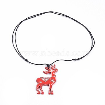 Dyed Poplar Wood Pendant Necklaces, with Waxed Cotton Cord, Christmas Reindeer/Stag, Red, 41.3~41.7 inches(105~106cm); 1.5mm(NJEW-JN02452-01)