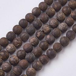 "Bronzite naturel brins de perles, mat, rond, 4.5~5mm, trou: 0.5mm; environ 82 pcs/chapelet, 14.9"" (38 cm)(G-J376-32-4mm)"