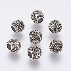 Perles européennes en alliage de style tibétain, supports strass, Perles avec un grand trou   , rondelle, argent antique, 10.5x9mm, trou: 4 mm; ffit pour strass 1mm(PALLOY-P168-095)