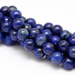 Natural Lapis Lazuli Round Beads Strands, Dyed, 6mm, Hole: 1mm; about 63pcs/strand, 15.5