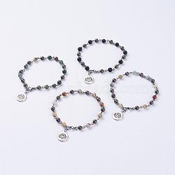 """Bracelets de cheville de pierres précieuses naturelles, avec 304 fermoir à pince de homard en acier inoxydable et des pendanes de style tibétain, lotus, 8-7/8"""" (225 mm)(AJEW-AN00217)"""