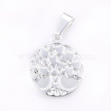 Silver Flat Round Stainless Steel Pendants