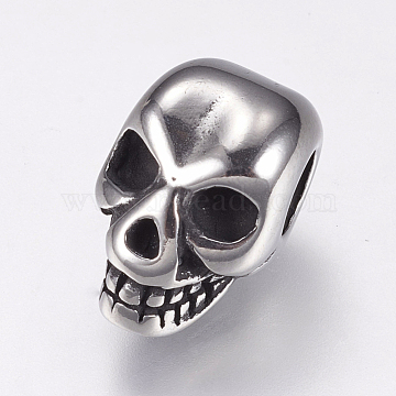 316 Surgical Stainless Steel European Beads, Large Hole Beads, Skull, Antique Silver, 12.5x8x8.5mm, Hole: 4mm(X-STAS-F144-102AS)