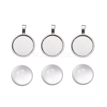 DIY Pendants Making, with Tibetan Style Alloy Pendant Cabochon Settings and Clear Half Round Glass Cabochons, Flat Round, Antique Silver, Cabochons: 9.5x20mm, Settings: 32x23x2mm, 2pcs/set(DIY-X0292-85AS)