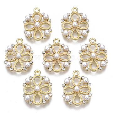 Alloy Pendants, with ABS Plastic Imitation Pearl, with Crystal Rhinestone, Flat Round with Flower, White, Light Gold, 19.5x15x4.5mm, Hole: 1.5mm(PALLOY-S132-099)