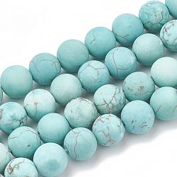 "Naturel, vert turquoise perles brins, mat, rond, 8mm, trou: 1mm; environ 47 pcs/chapelet, 15.5""(G-T106-185)"