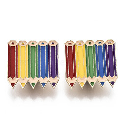 Alloy Brooches, with Enamel and Brass Butterfly Clutches, Colour Pencil, Light Gold, Colorful, 25x25.5x2mm, Pin: 1mm(JEWB-S011-061)