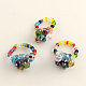 Lampwork Stretch Rings with Seed Beads(RJEW-R120)-1