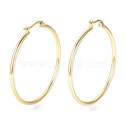 Vacuum Plating 201 Stainless Steel Hoop Earrings, Golden, 12 Gauge, 62x60~60.5x2mm; Pin: 0.8mm(X-MAK-R018-60mm-G)