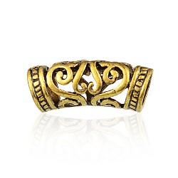 Perles de tube courbes en alliage de style tibétain, creux, Or antique, 26x10.5x9mm, Trou: 7mm(PALLOY-J154-56AG)