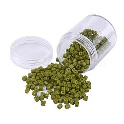 Opaque Colors Glass Seed Beads, Round Hole, Cube, Olive Drab, 3~7x3x3mm, Hole: 0.5mm; about 400pcs/box(SEED-JP0002-A02)