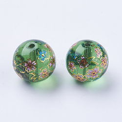 цветок картины печатные стеклянные бусины, вокруг, зеленый, 12x11~12 mm, отверстия: 1.5 mm(GLAA-E399-12mm-C05)