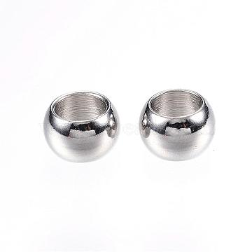 304 Stainless Steel Beads, Rondelle, Large Hole Beads, Stainless Steel Color, 8x5mm, Hole: 5mm(STAS-D448-065P)