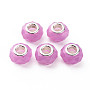 Resin European Beads, Large Hole Beads, with Silver Tone Brass Double Cores, Faceted, Rondelle, Medium Orchid, 14x9mm, Hole: 5mm