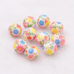 Perles en résine, avec motif de fleurs, rond, colorées, 10mm, Trou: 2mm(GLAA-F049-A16)