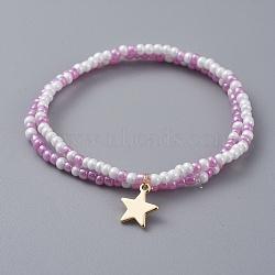 """Bracelets extensibles pour enfants en perles de verre, avec breloques en laiton étoilé, lilas, 2"""" (5 cm), 2 pièces / kit(BJEW-JB04825-03)"""