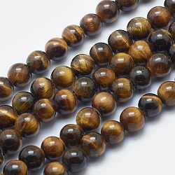 Natural Tiger Eye Beads Strands, Grade AB+, Round, DarkGoldenrod, 8mm, Hole: 2mm; about 48pcs/strand, 15.3inches