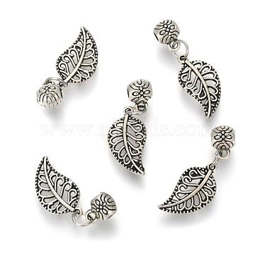 Alloy Pendants, with Hanger Links, Leaf, Filigree, Antique Silver, 28x10x1mm, Hole: 2.5mm(PALLOY-N0140-02AS)