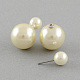 Double Side Imitation Pearl Acrylic Beads Ball Stud Earrings(EJEW-S189)-2