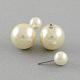 Double Side Imitation Pearl Acrylic Beads Ball Stud Earrings(EJEW-S189)-2