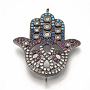 Brass Micro Pave Cubic Zirconia Links, Hamsa Hand/Hand of Fatima /Hand of Miriam, Colorful, Gunmetal, 30x24x3mm, Hole: 1mm