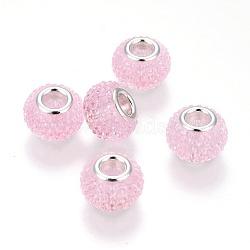 Rhinestone de résine de perles européennes, avec des noyaux en laiton argenté, grandes perles de trou, rondelle, perles baies, pearlpink, 14x10 mm, trou: 5 mm(RPDL-L004-10)