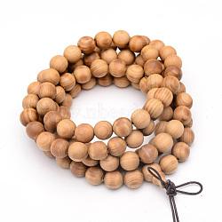 """Ювелирные изделия из буддийского стиля, браслеты / ожерелья из красного красного кедра, круглые, бежевые, 5 (34-5/8"""" см)(X-BJEW-S125-21)"""